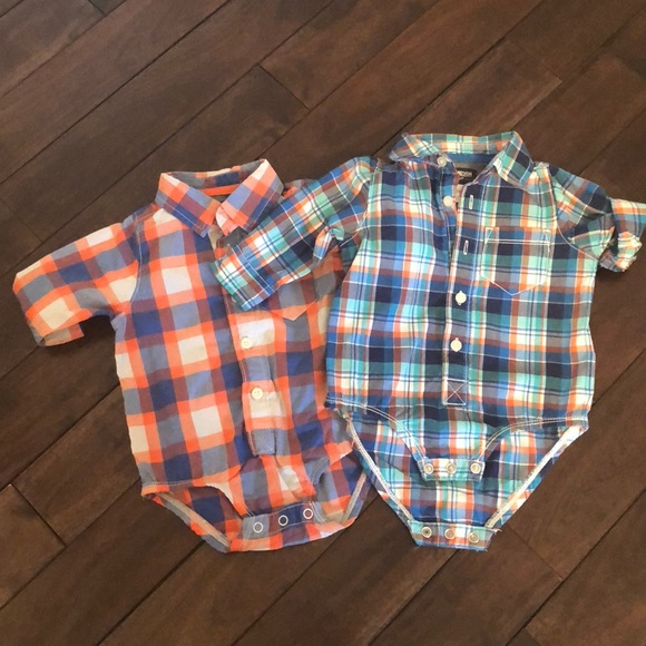 NWT body suit OshKosh B/'Gosh Infant Boys Short Sleeve Chambray Bodysuit
